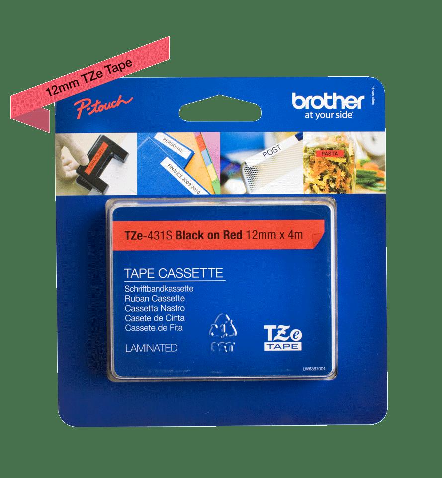 Original Brother TZe431S tape – sort på rød, 12 mm bred 2