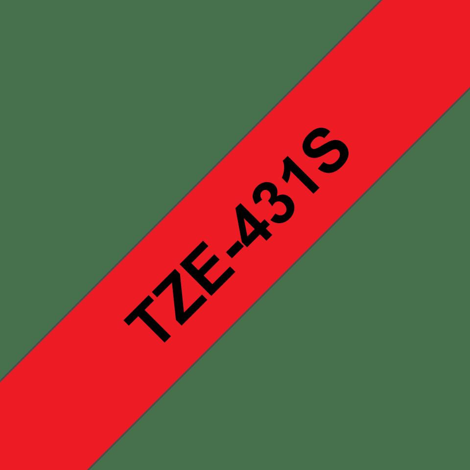 Original Brother TZe431S tape – sort på rød, 12 mm bred 3