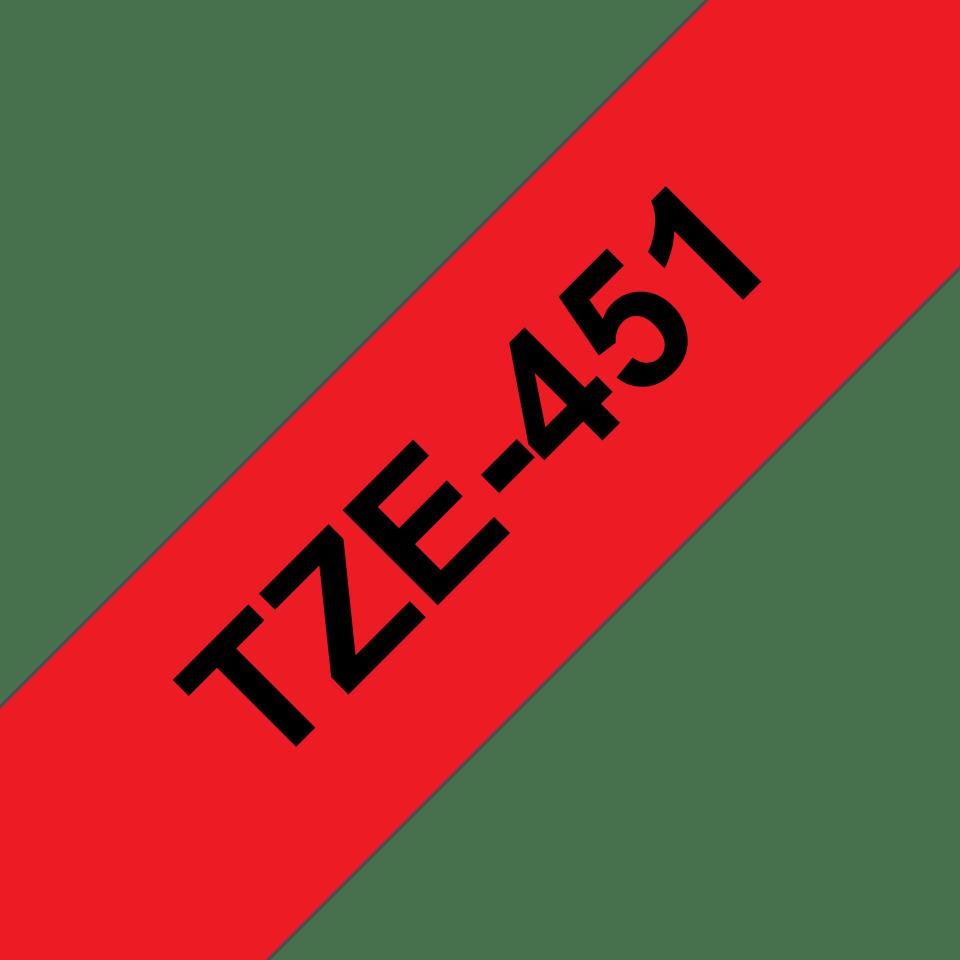 Original Brother TZe451 tape – sort på rød, 24 mm bred 3