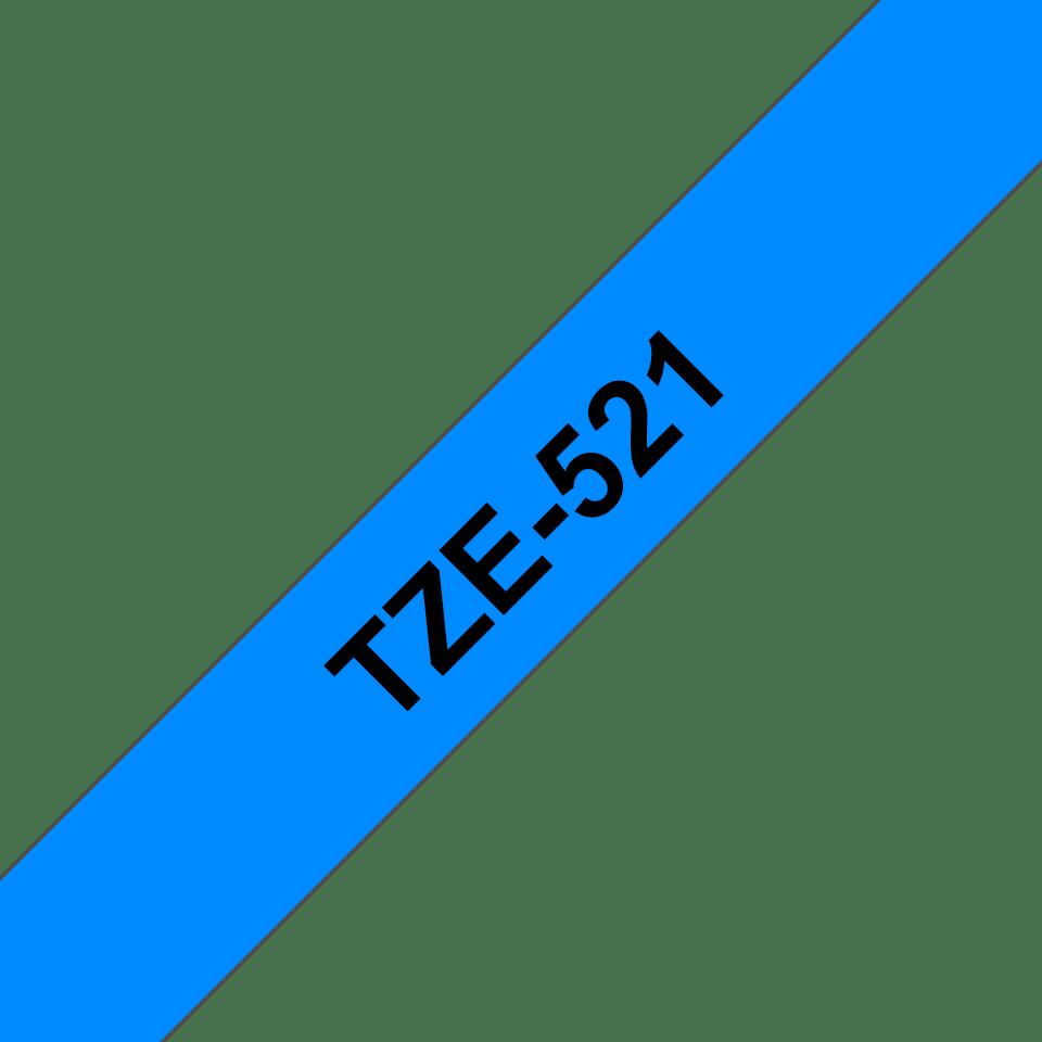 Original Brother TZe521 tape – sort på blå, 9 mm bred