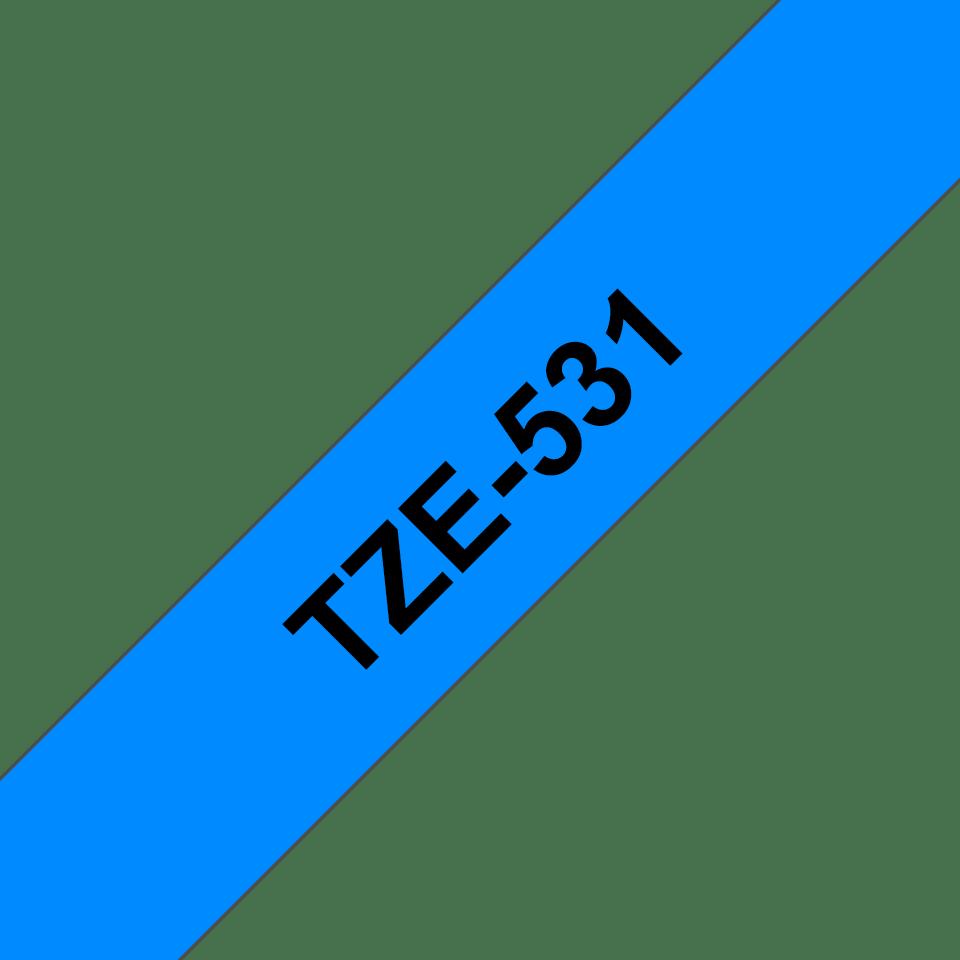 Original Brother TZe531 tape – sort på blå, 12 mm bred