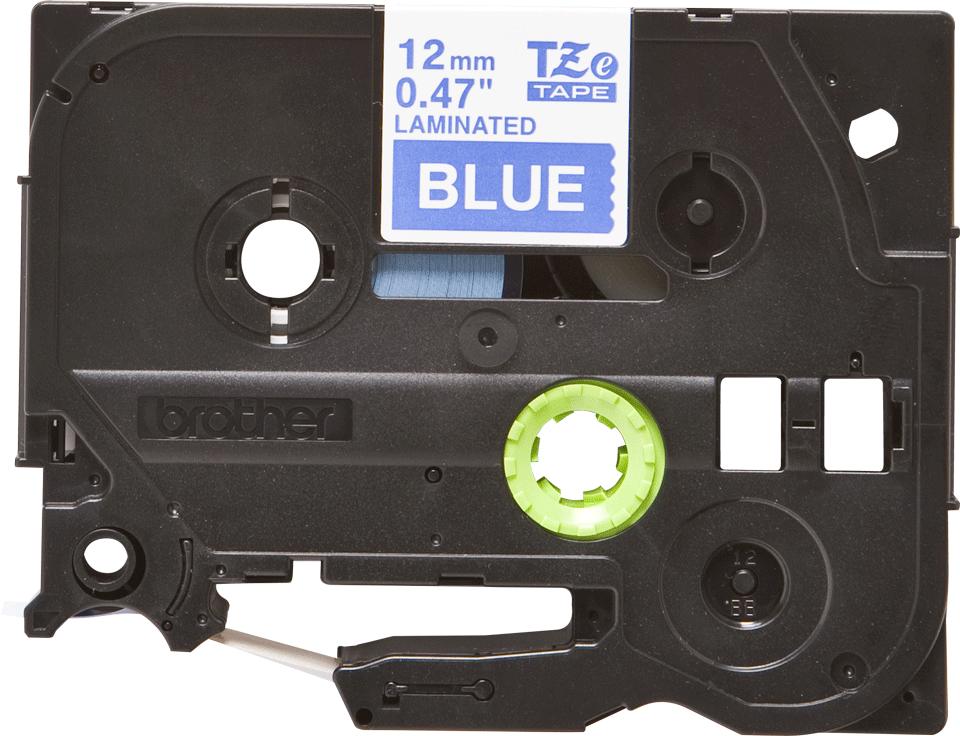 Original Brother TZe535 tape – hvid på blå, 12 mm bred 2
