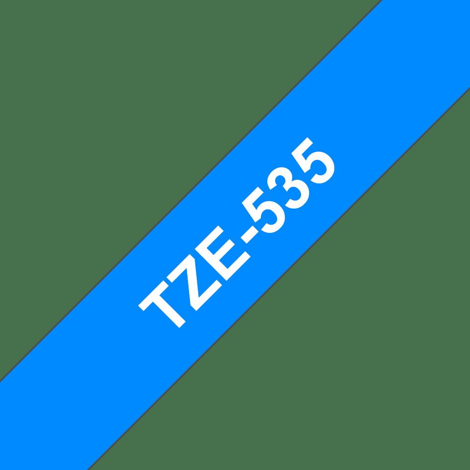 Original Brother TZe535 tape – hvid på blå, 12 mm bred