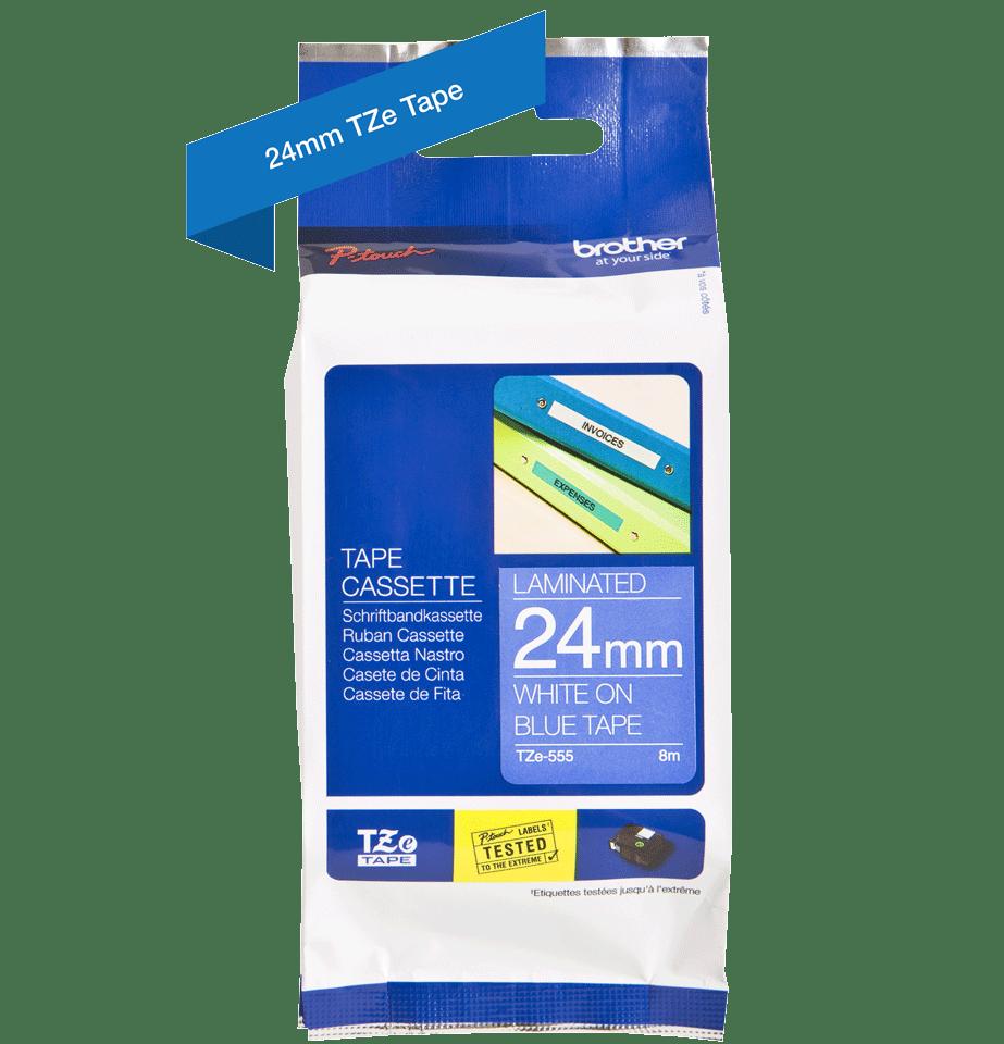 Original Brother TZe555 tape – hvid på blå, 24 mm bred 3