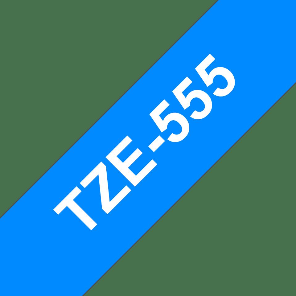 Original Brother TZe555 tape – hvid på blå, 24 mm bred