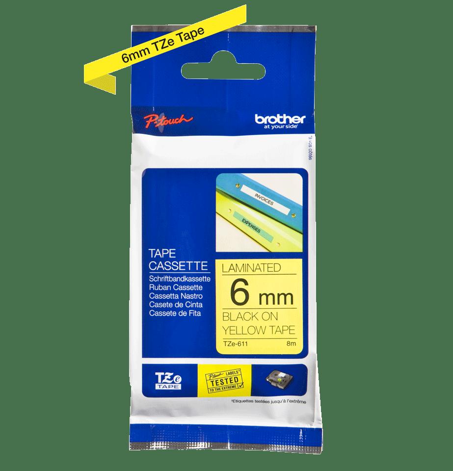 Original Brother TZe611 tape – sort på gul, 6 mm bred 2