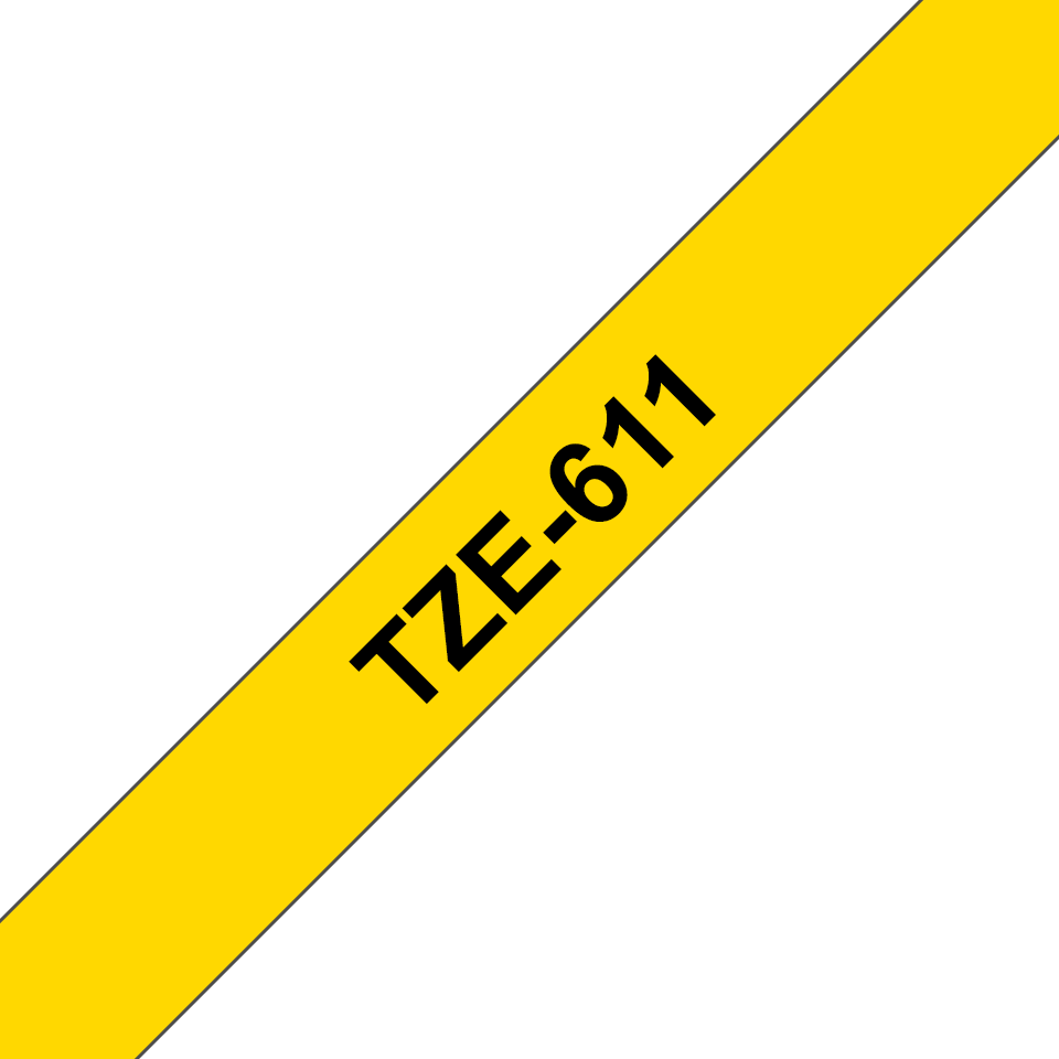 Original Brother TZe611 tape – sort på gul, 6 mm bred 3