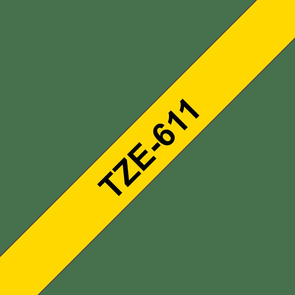 Original Brother TZe611 tape – sort på gul, 6 mm bred