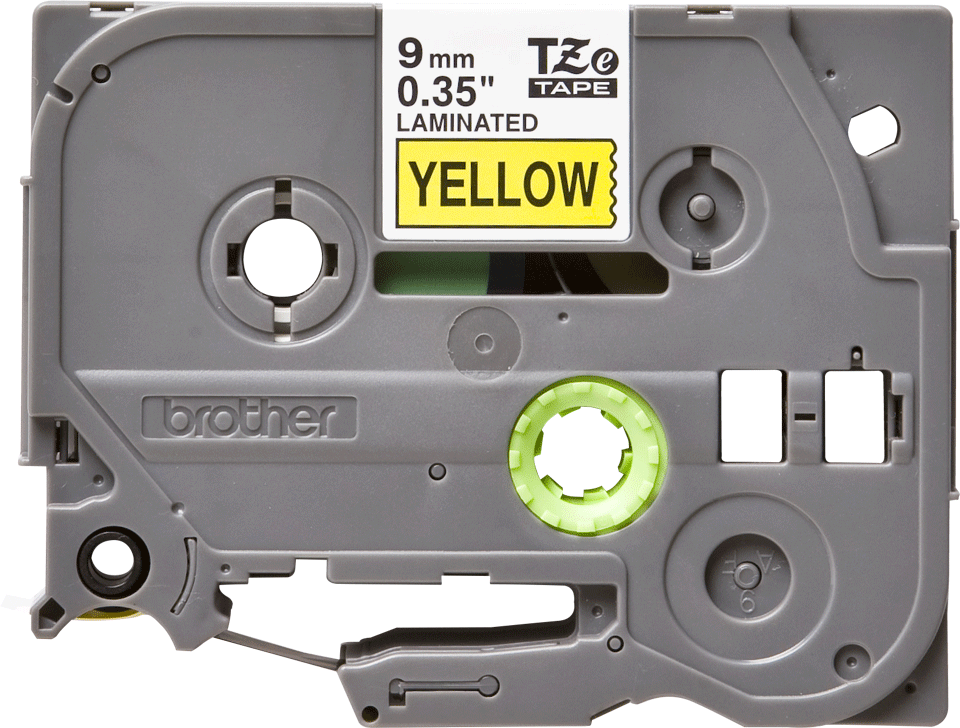 Original Brother TZe621 tape – sort på gul, 9 mm bred