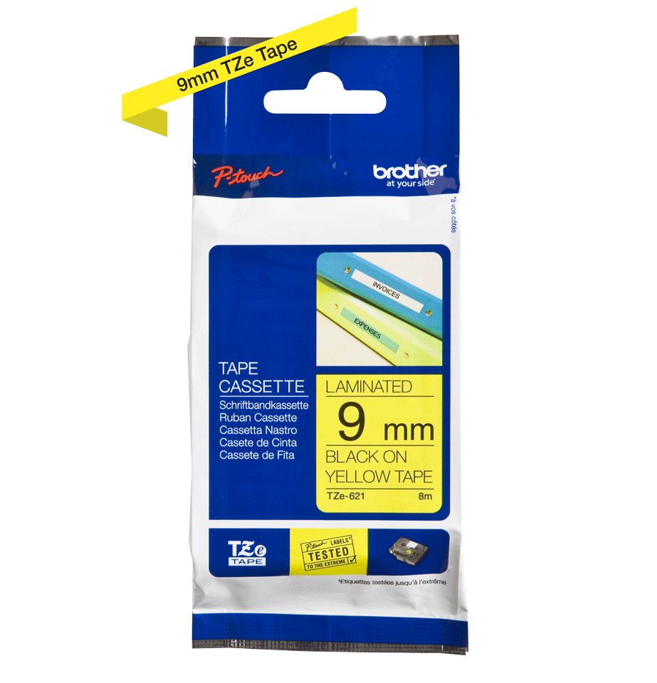 Original Brother TZe621 tape – sort på gul, 9 mm bred 3