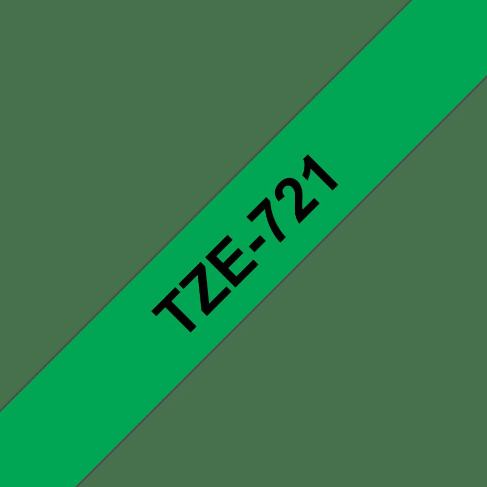 Original Brother TZe721 tape – sort på grøn, 9 mm bred