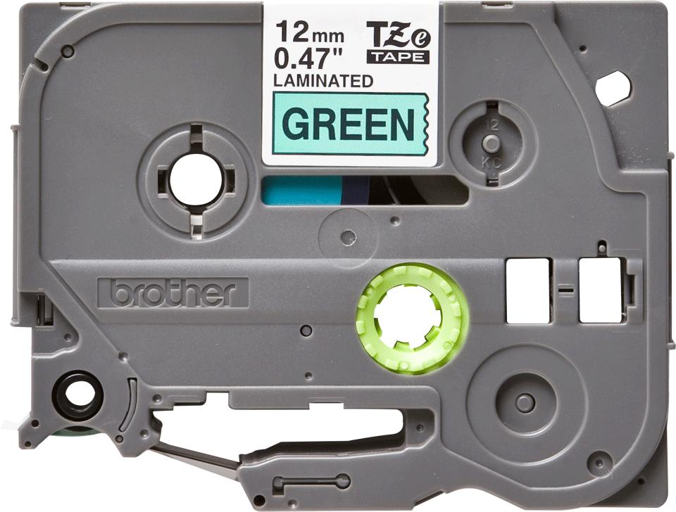 Original Brother TZe731 tape – sort på grøn, 12 mm bred 2