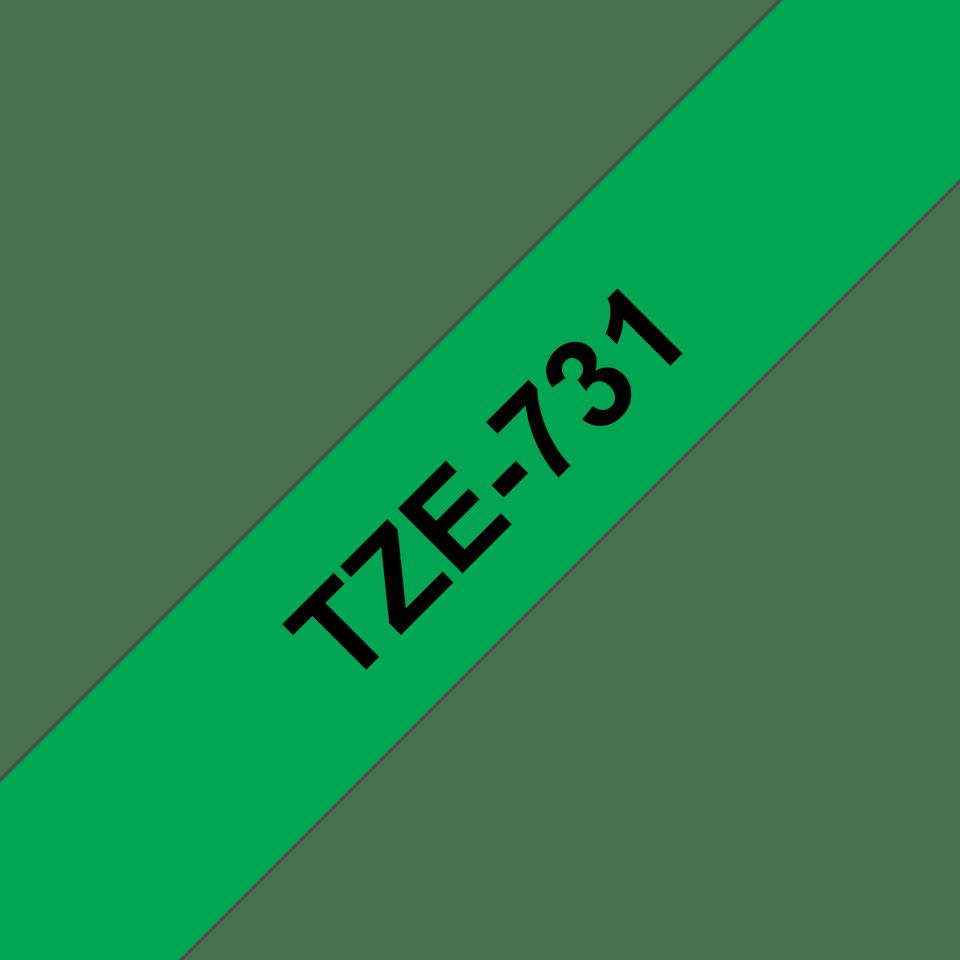 Original Brother TZe731 tape – sort på grøn, 12 mm bred