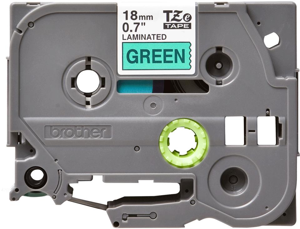 Original Brother TZe741 tape – sort på grøn, 18 mm bred