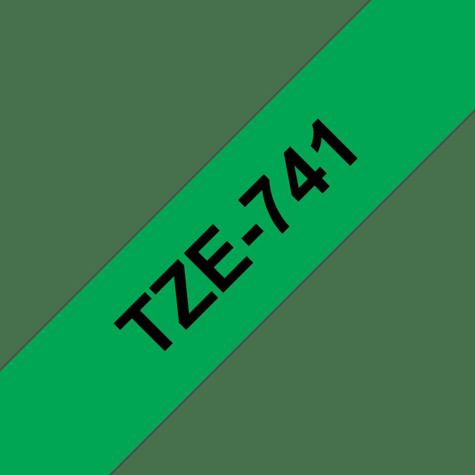 Original Brother TZe741 tape – sort på grøn, 18 mm bred 3