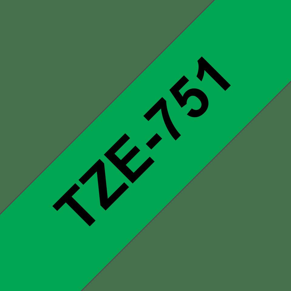 Original Brother TZe751 tape – sort på grøn, 24 mm bred