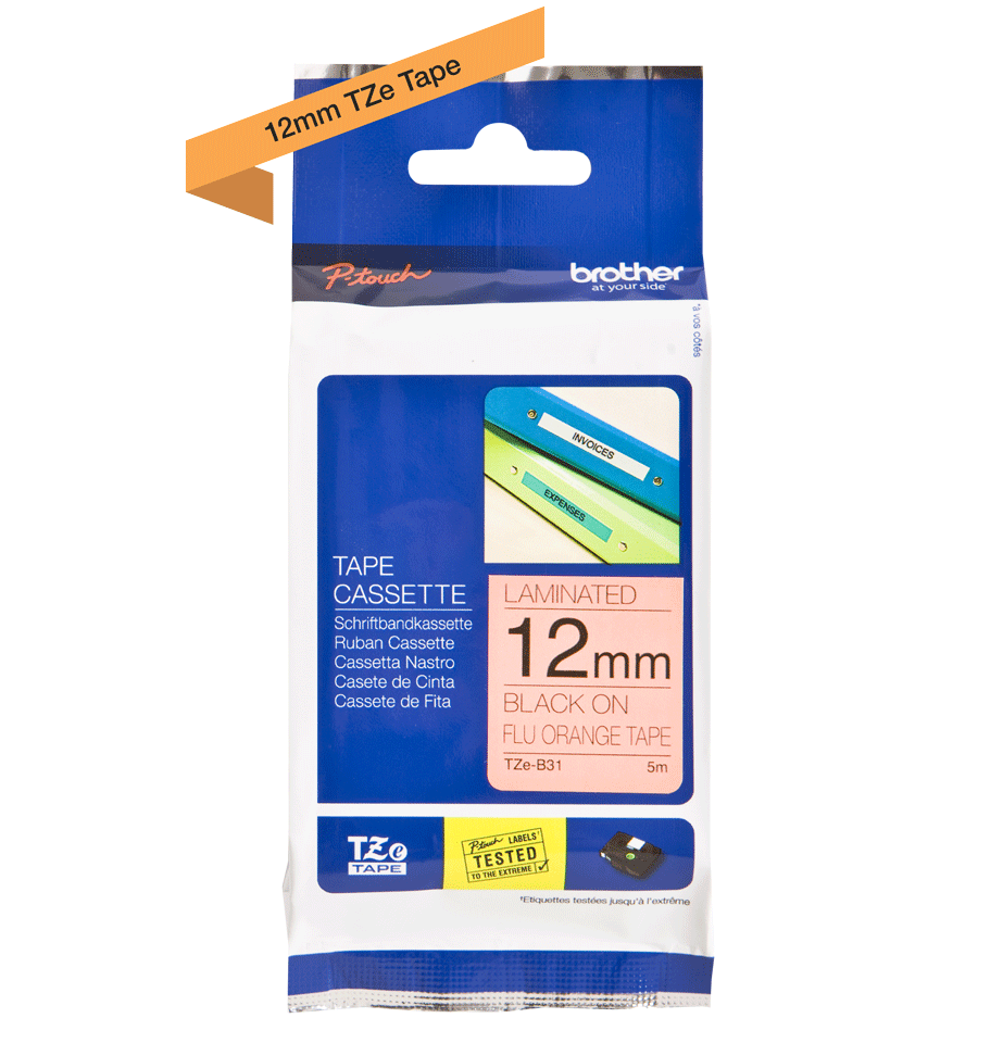 Original Brother TZe-B31 tape – neonorange, 12 mm bred 3