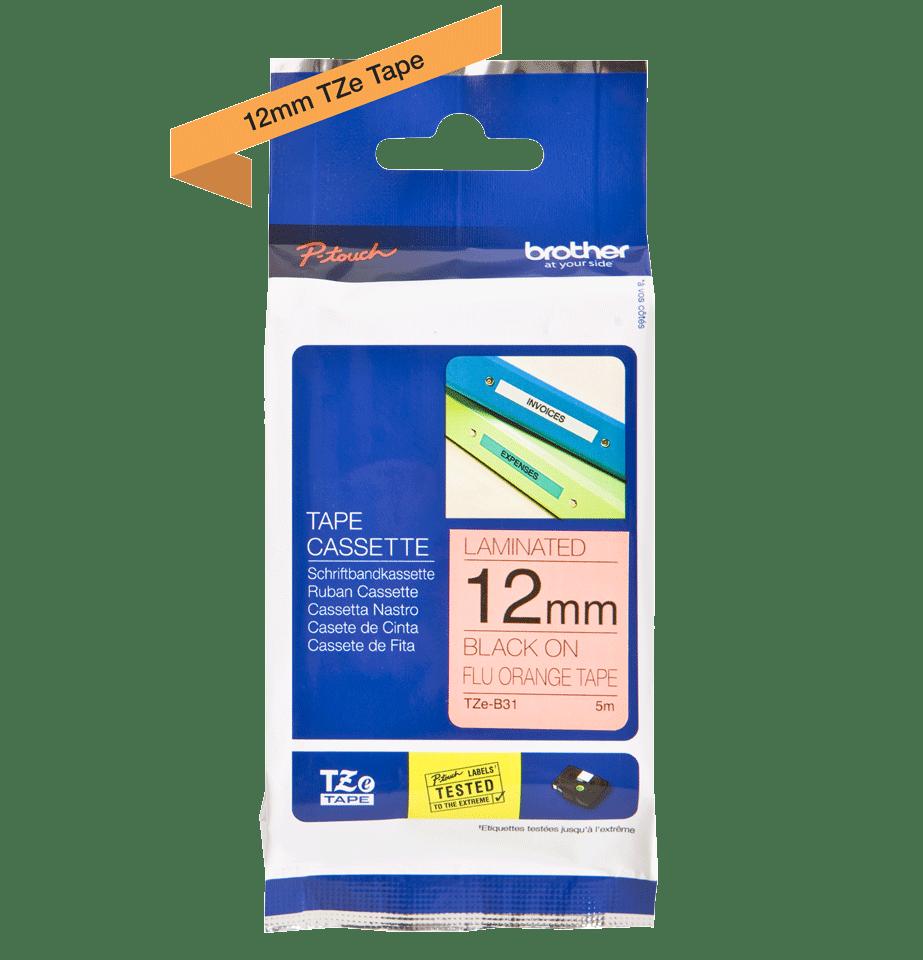 Original Brother TZe-B31 tape – fluorescerende orange, 12 mm bred 2