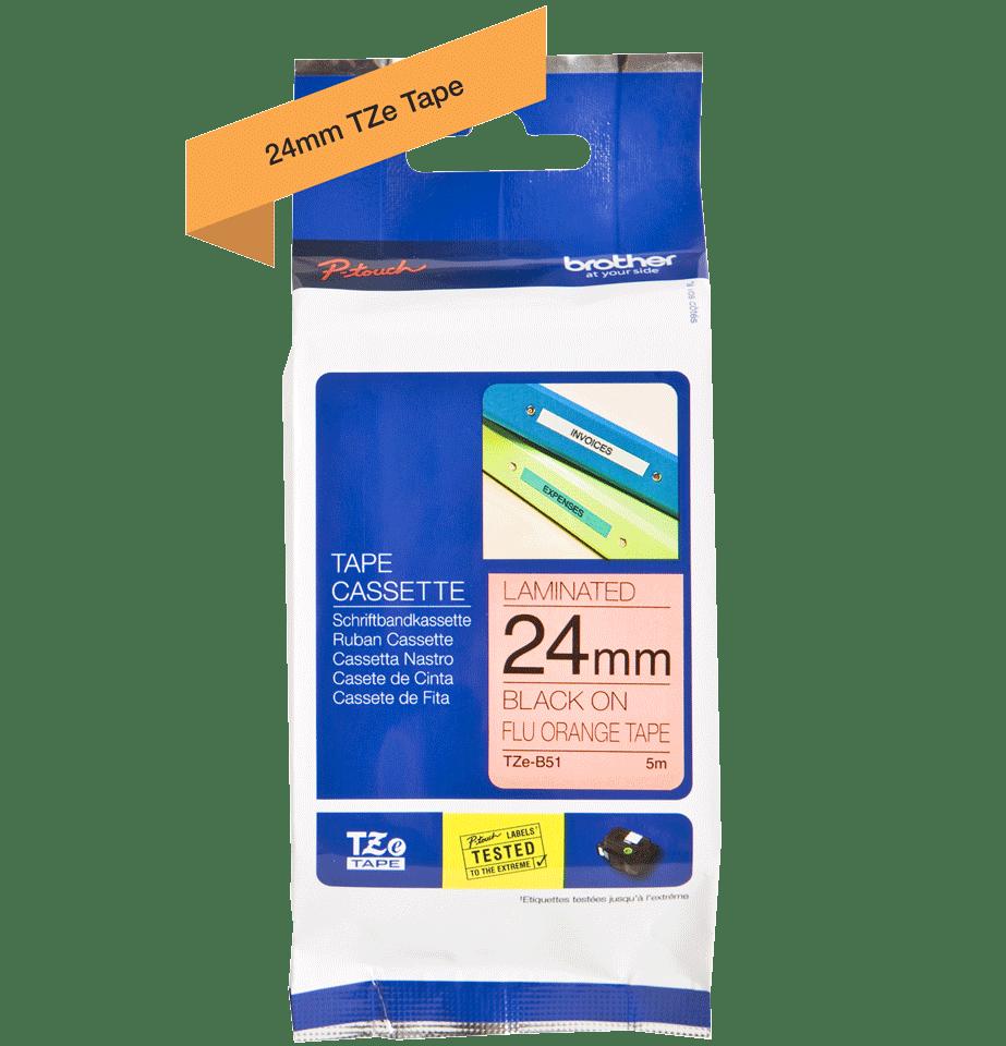 Original Brother TZeB51 tape – neonorange, 24 mm bred 2