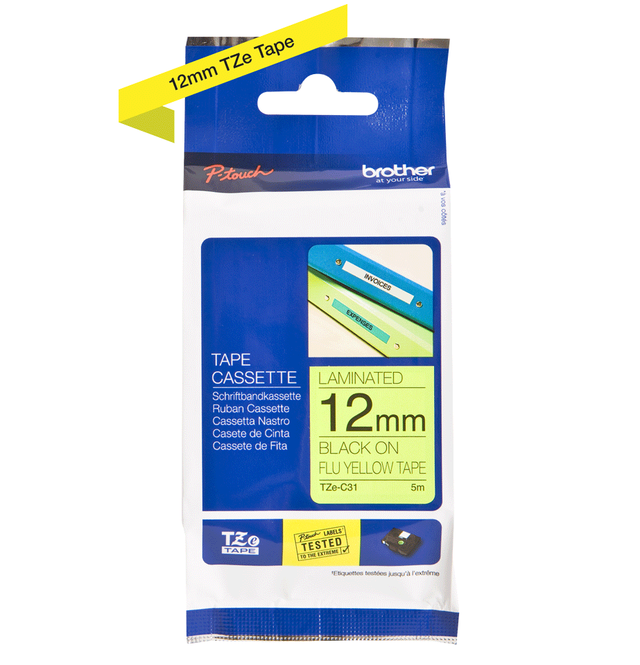 Original Brother TZeC31 tape – neongul, 12 mm bred 3