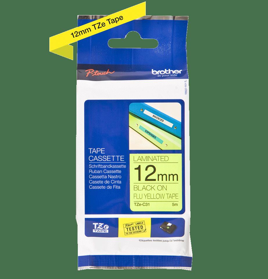 Original Brother TZeC31 tape – neongul, 12 mm bred 3