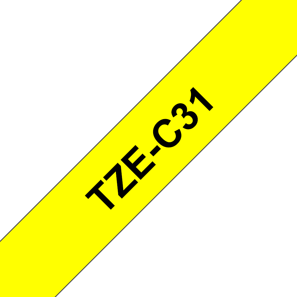 Original Brother TZeC31 tape – neongul, 12 mm bred