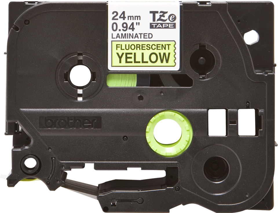 Original Brother TZeC51 tape – fluorescerende gul, 24 mm bred