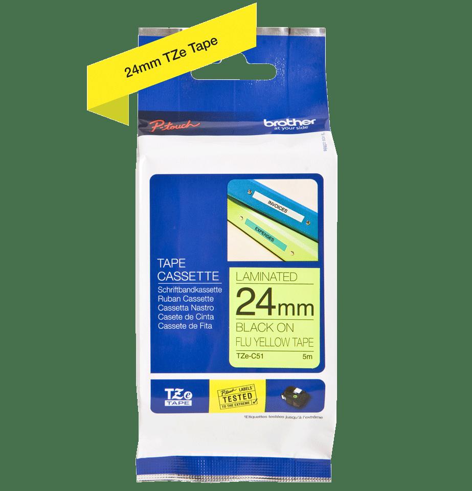 Original Brother TZeC51 tape – fluorescerende gul, 24 mm bred 2