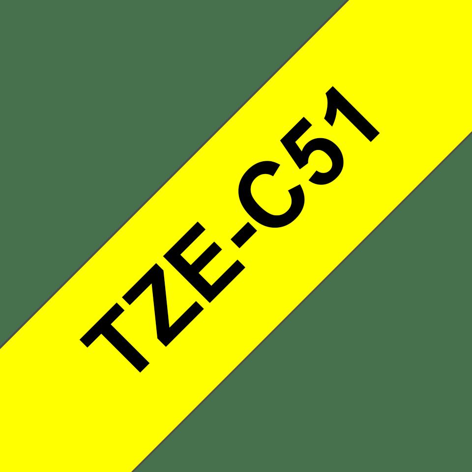 Original Brother TZeC51 tape – neongul, 24 mm bred 3
