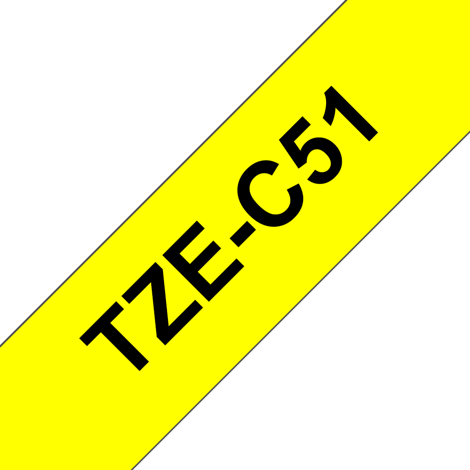 Original Brother TZeC51 tape – neongul, 24 mm bred