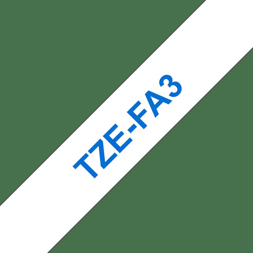 Original Brother TZe-FA3 stoftape – blå på hvid, 12 mm bred