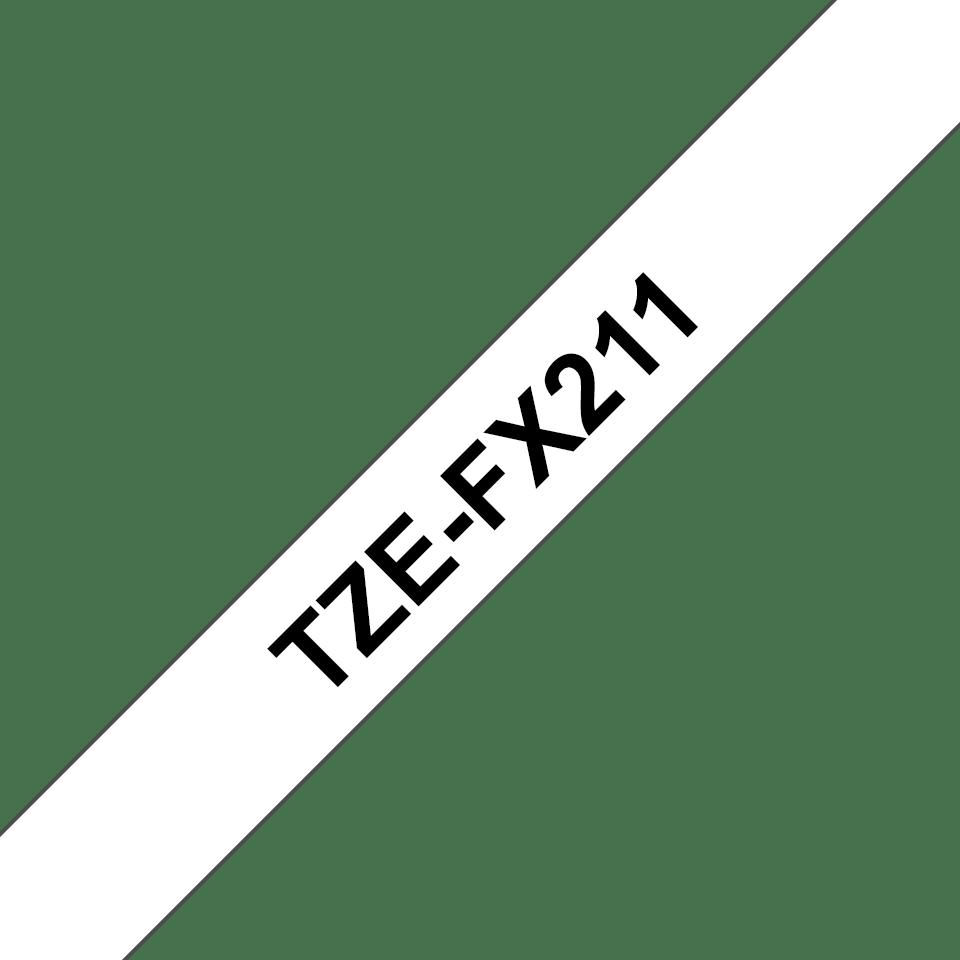 Original Brother TZeFX211 tape – sort på hvid, 6 mm bred