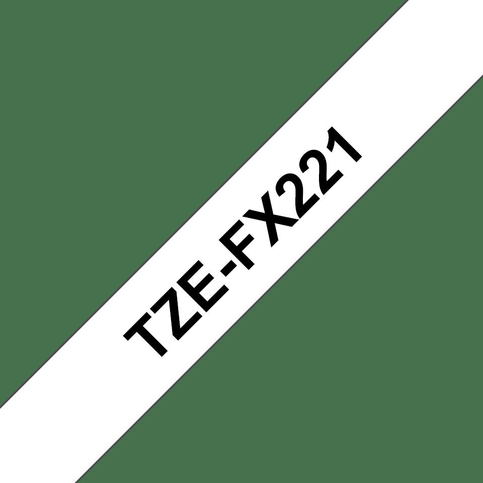Original Brother TZeFX221 tape – sort på hvid, 9 mm bred