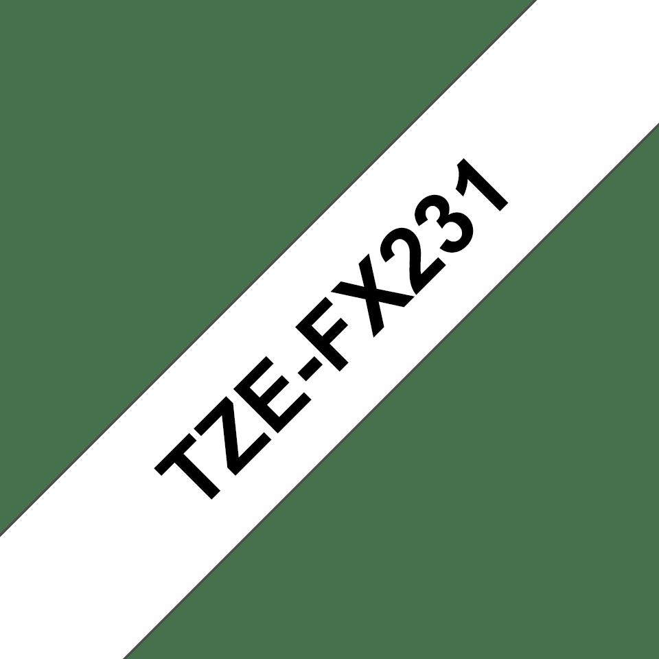 Original Brother TZe-FX231 tape – sort på hvid, 12 mm bred 3