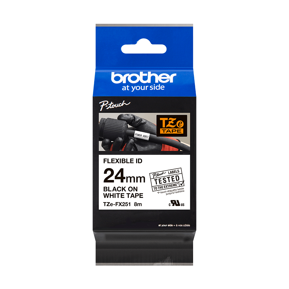 Original Brother TZeFX251 flexible tape – sort på hvid, 24 mm bred 2