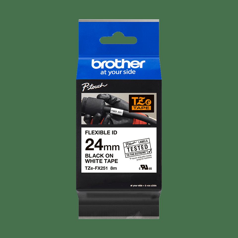 Original Brother TZeFX251 flexible tape – sort på hvid, 24 mm bred 3