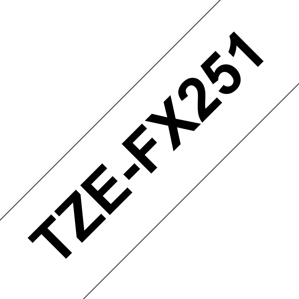 Original Brother TZeFX251 flexible tape – sort på hvid, 24 mm bred