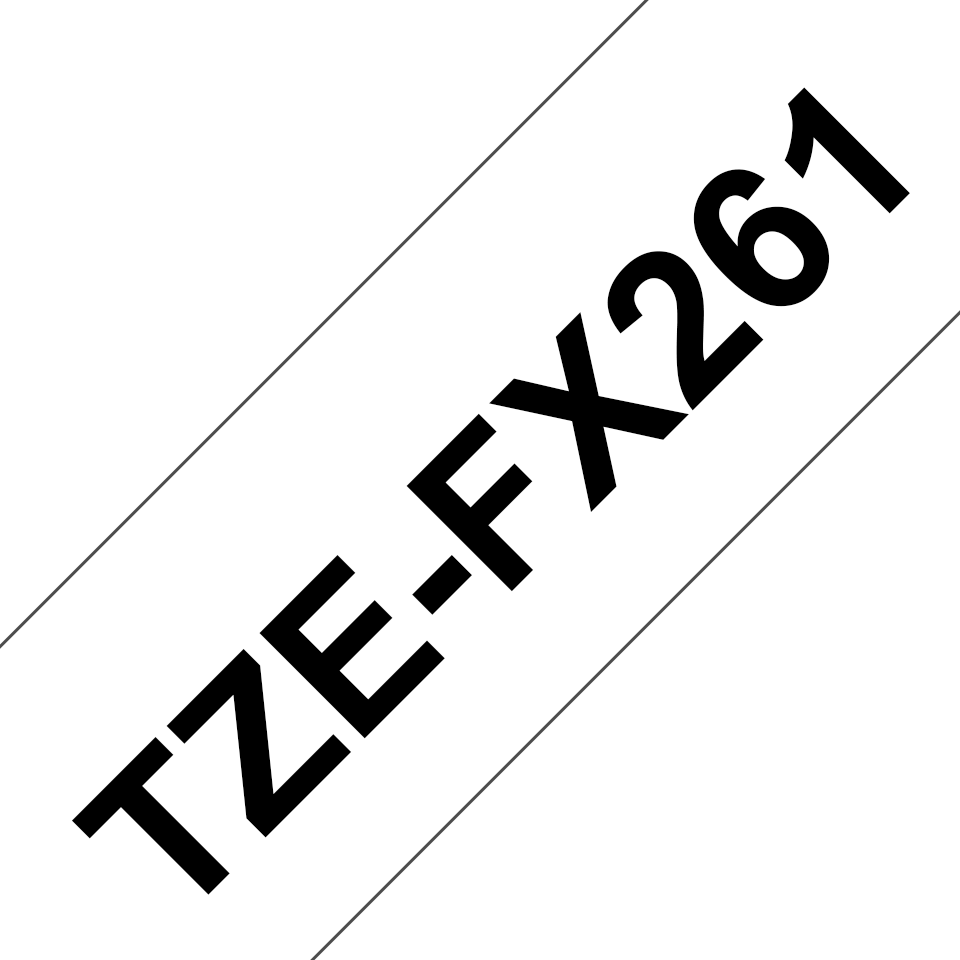 Original Brother TZeFX261 tape – sort på hvid, 36 mm bred