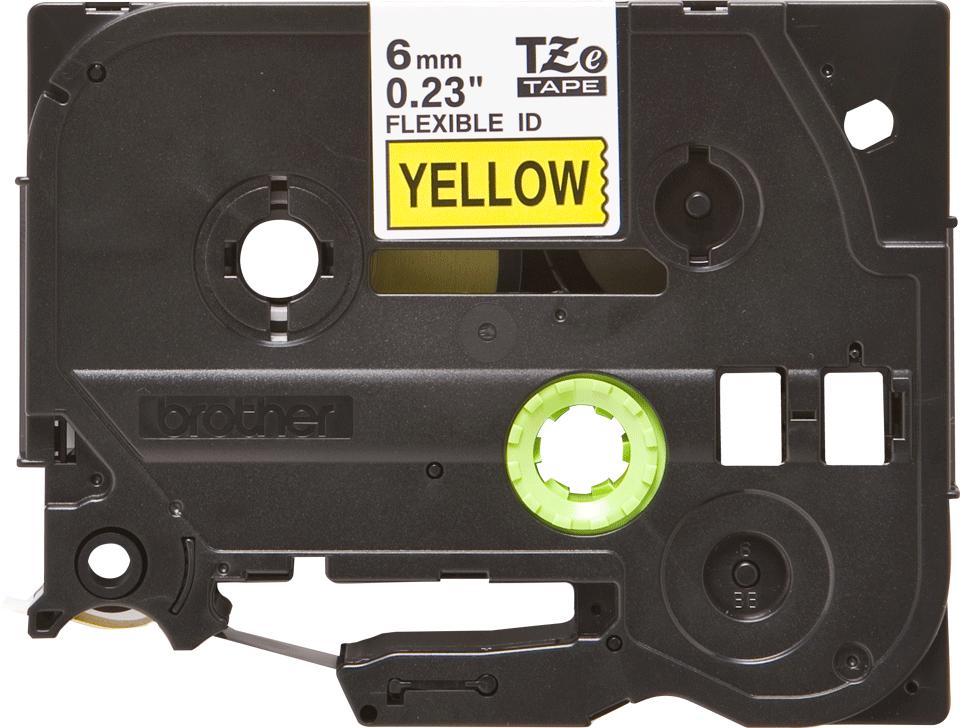 Original Brother TZeFX611 tape – sort på gul, 6 mm bred 2