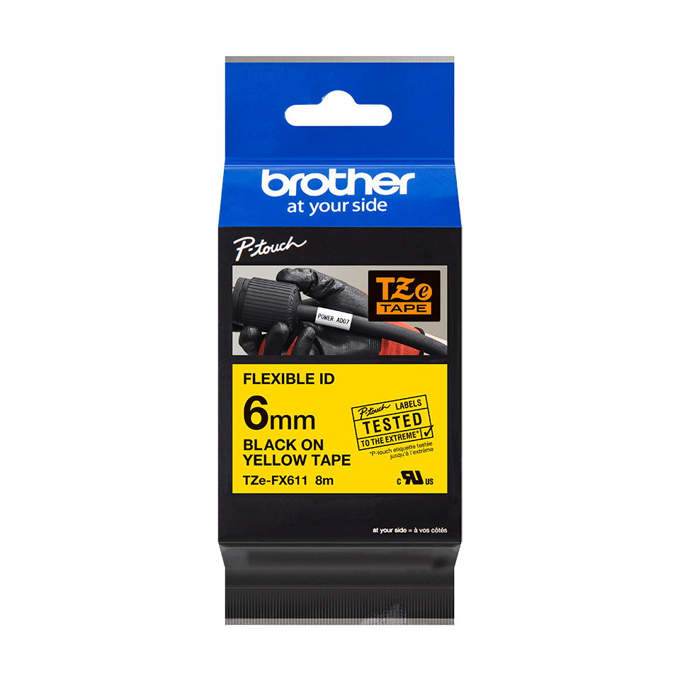 Original Brother TZeFX611 tape – sort på gul, 6 mm bred 2