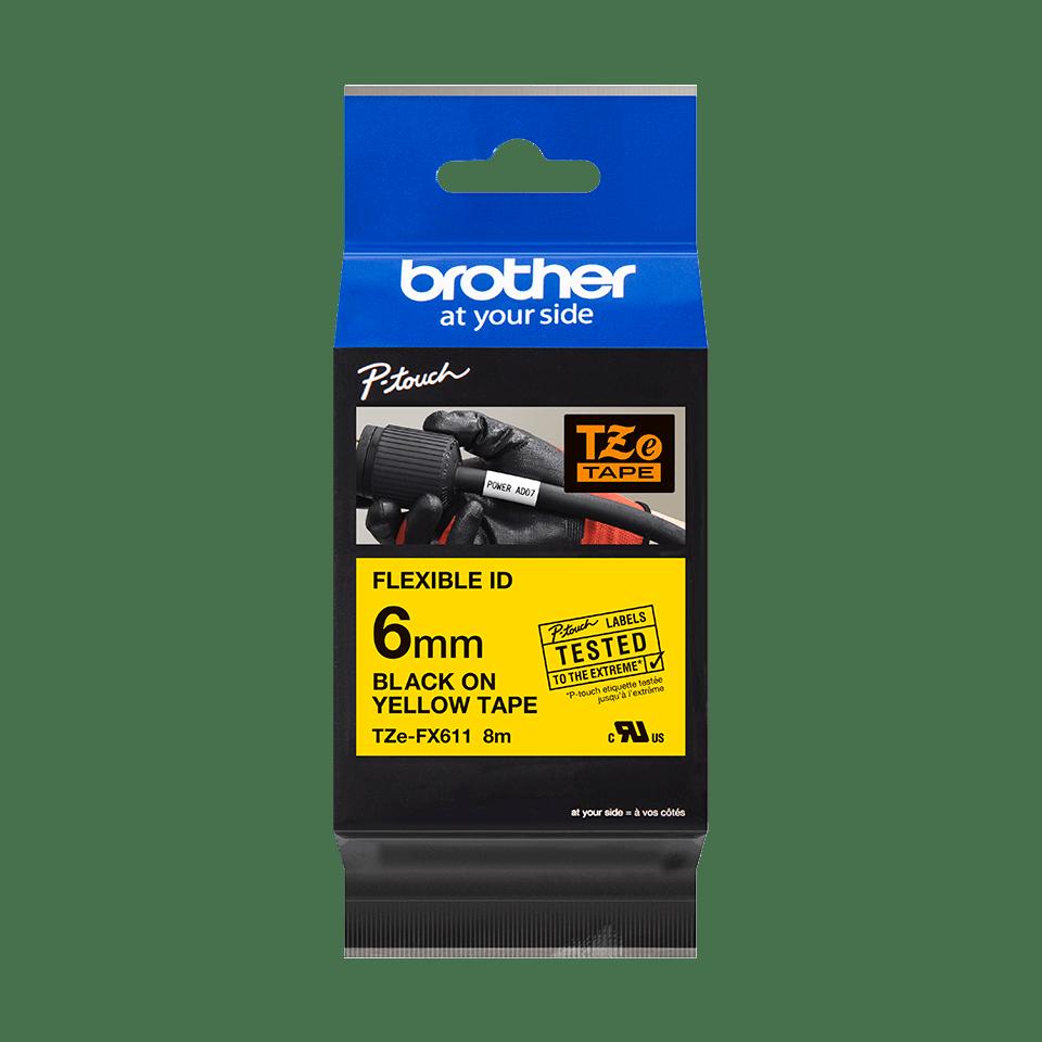 Original Brother TZeFX611 tape – sort på gul, 6 mm bred 3