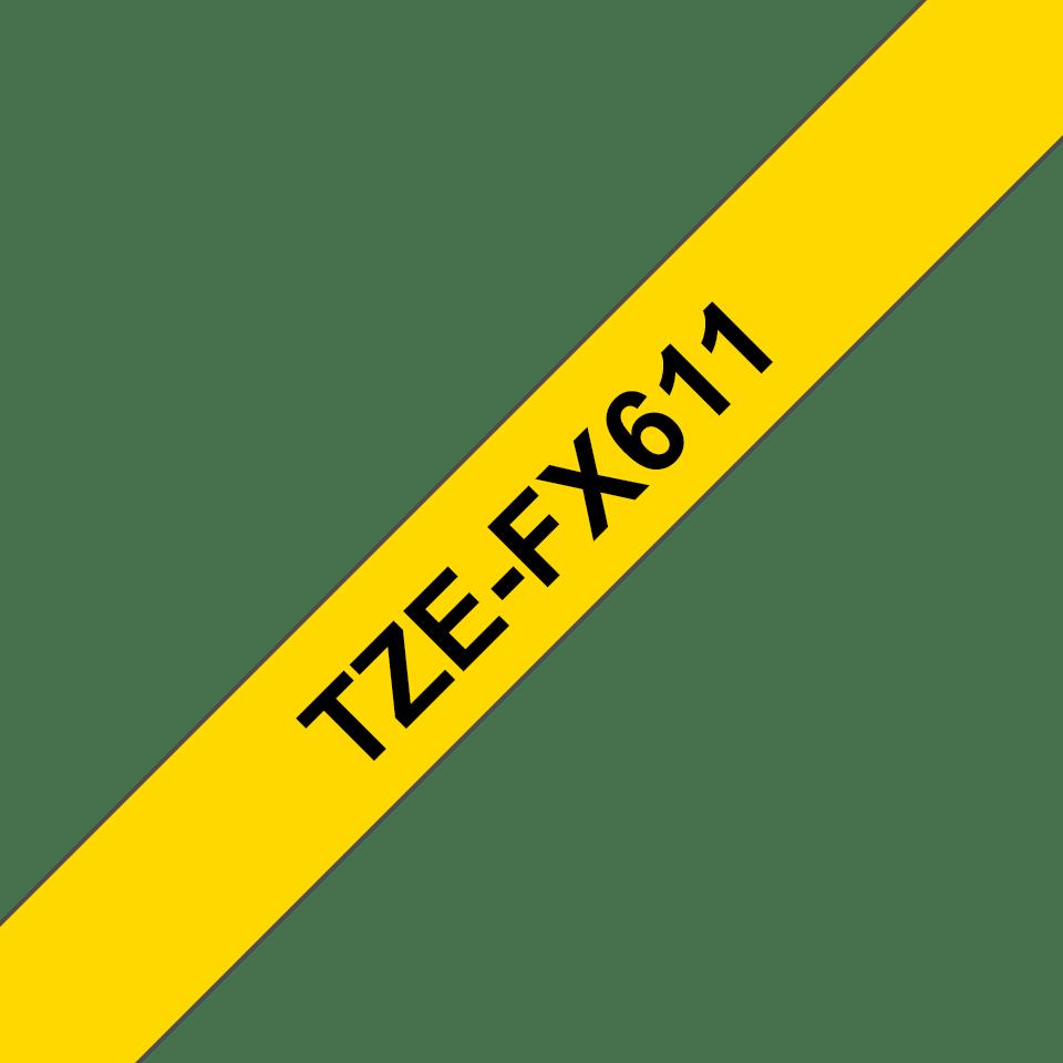 Original Brother TZeFX611 tape – sort på gul, 6 mm bred