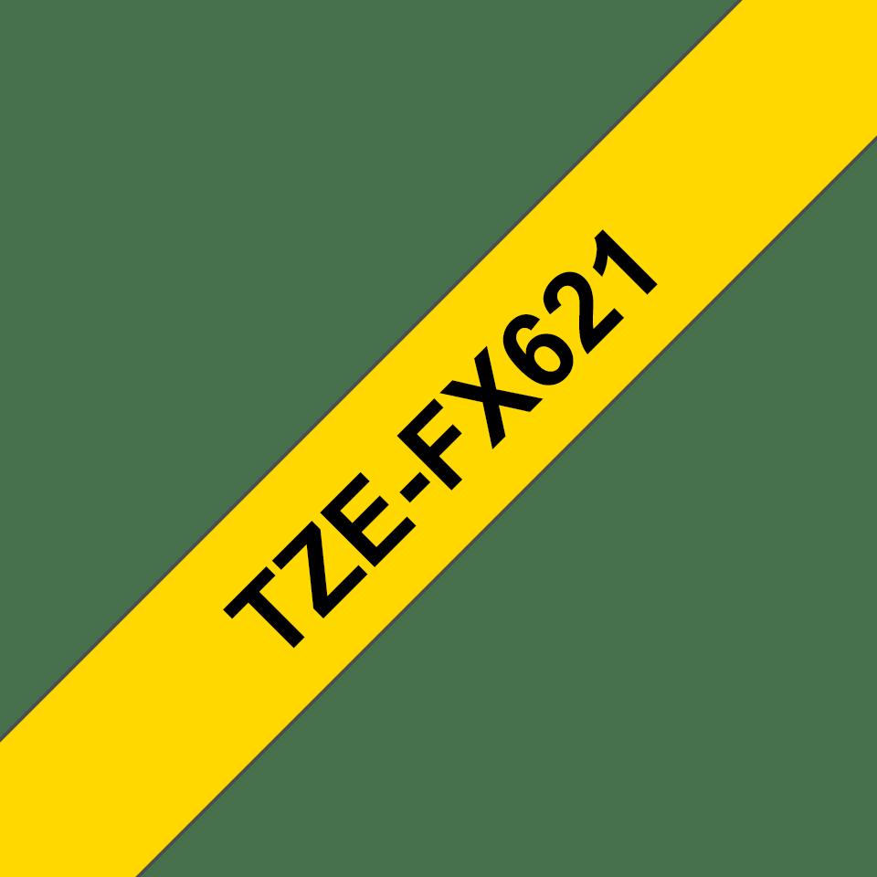 Original Brother TZeFX621 tape – sort på gul, 9 mm bred
