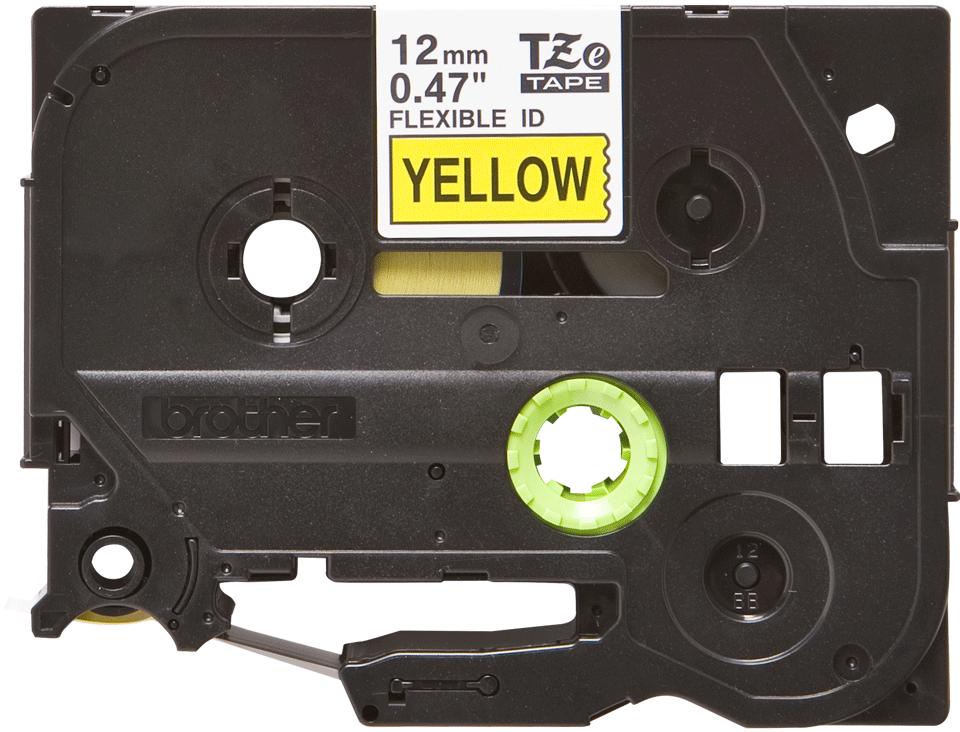 Original Brother TZeFX631 tape – sort pågul, 12 mm bred