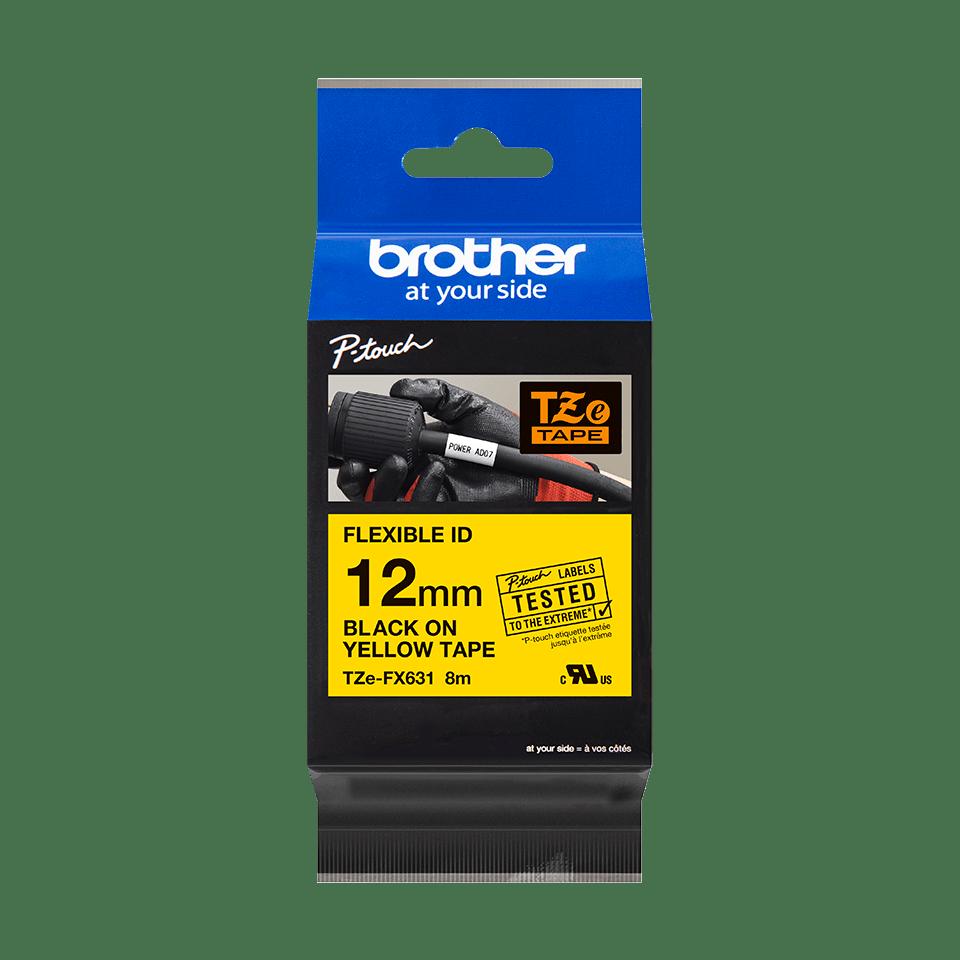 Original Brother TZeFX631 tape – sort pågul, 12 mm bred 2