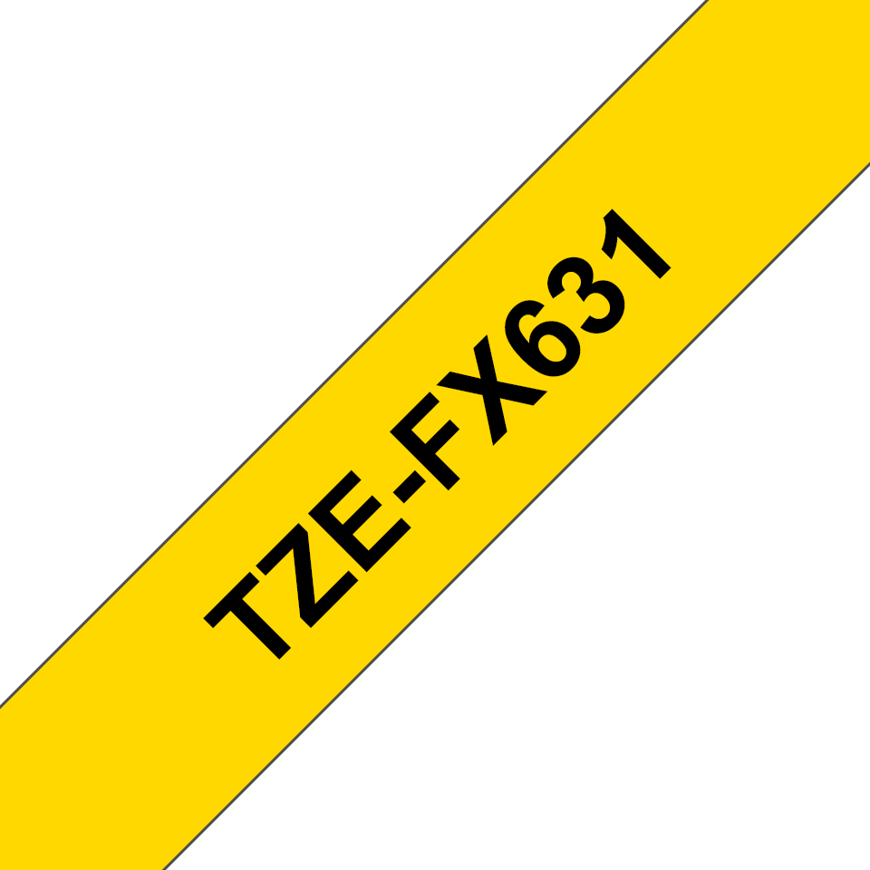 Original Brother TZeFX631 tape – sort pågul, 12 mm bred 3