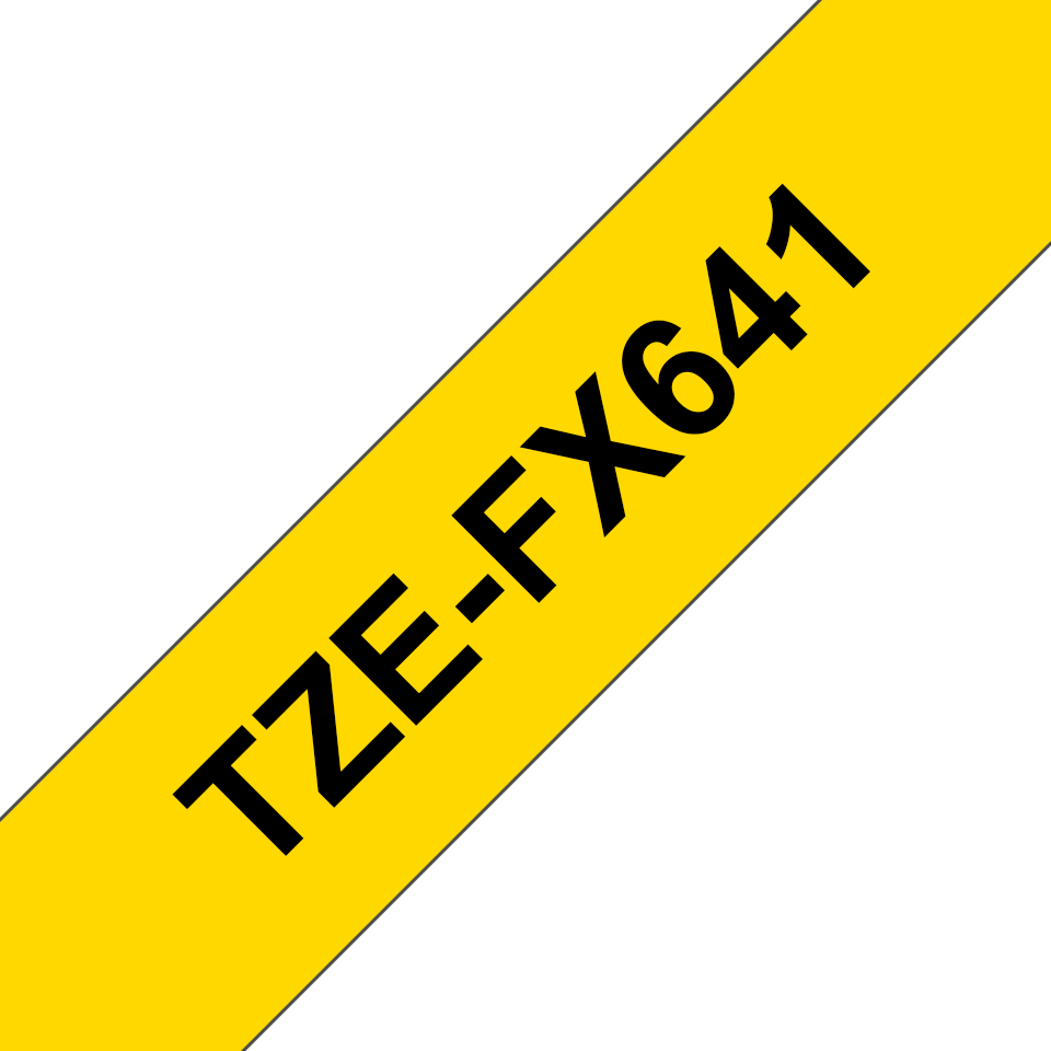 Original Brother TZeFX641 tape – sort på gul, 18 mm bred