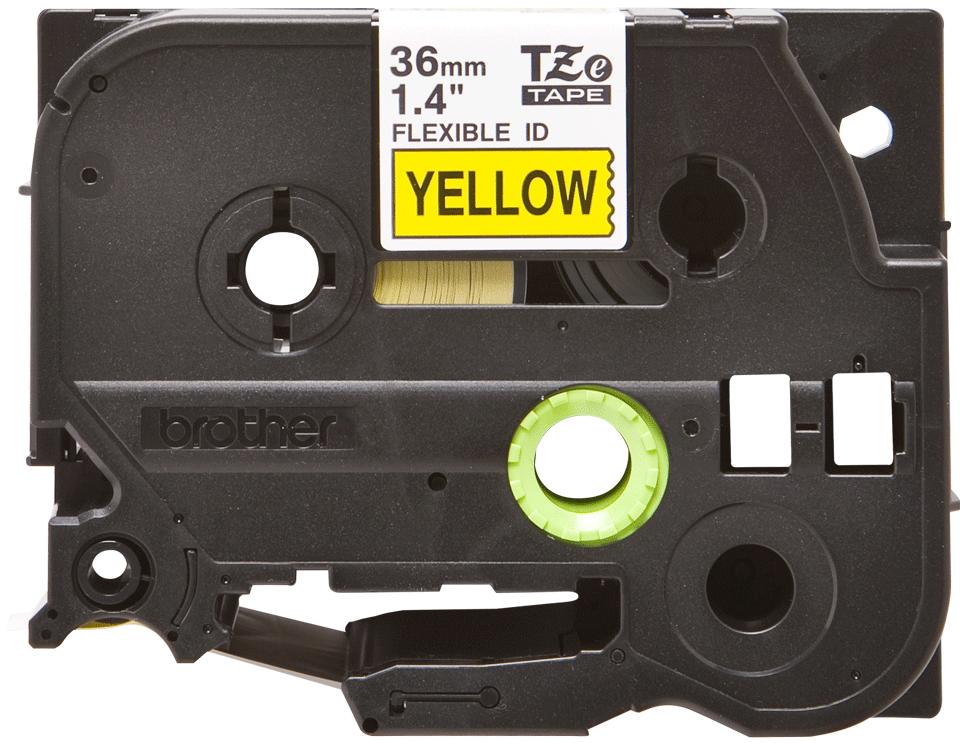 Original Brother TZeFX661 tape – sort på gul, 36 mm bred