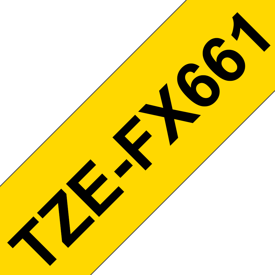 Original Brother TZeFX661 tape – sort på gul, 36 mm bred