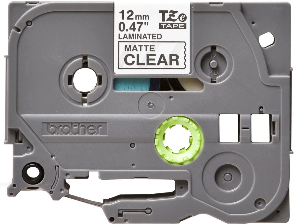 Original Brother TZeM31 tape – sort på klar, mat, 12 mm bred 2